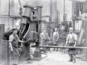 old photo of steel production in Warrington