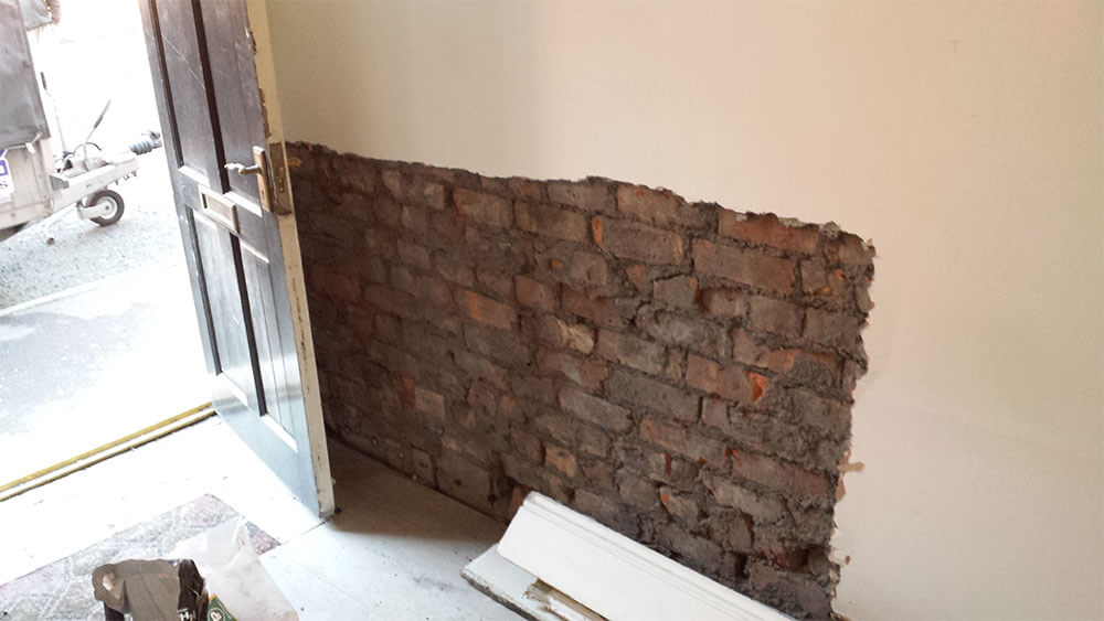 Atlantis treat rising damp hack off back to brick in Warrington, Cheshire