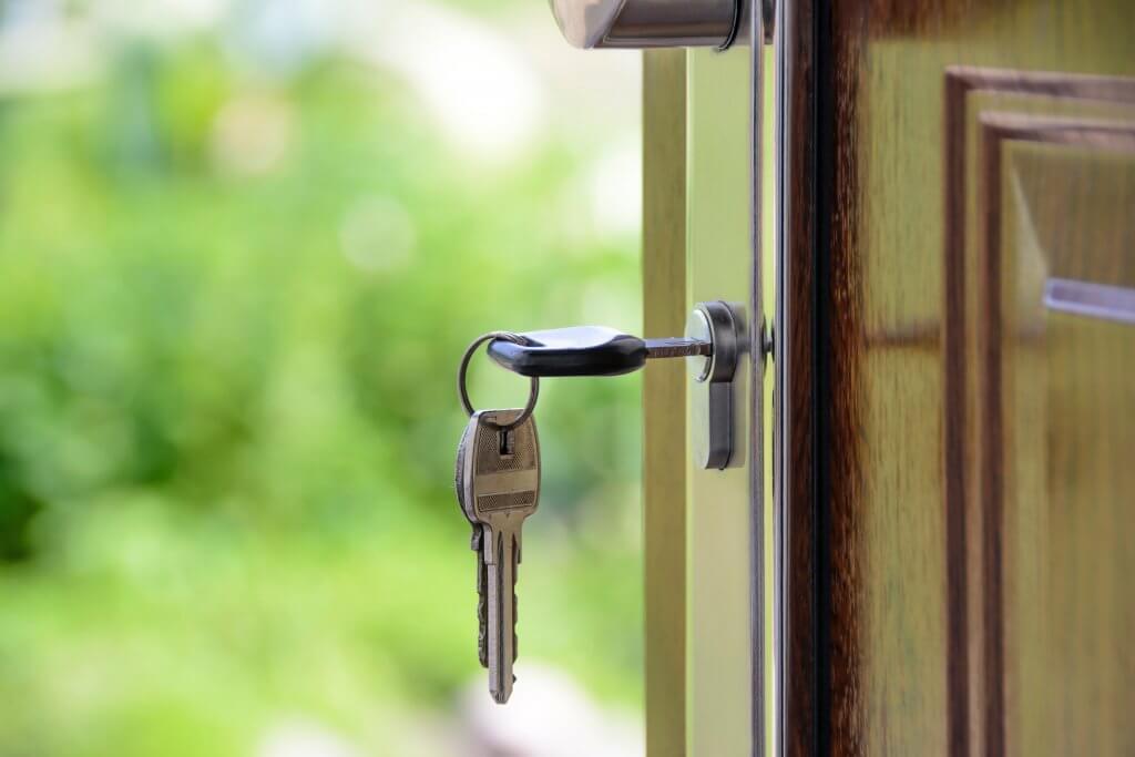 Keys in door of new home